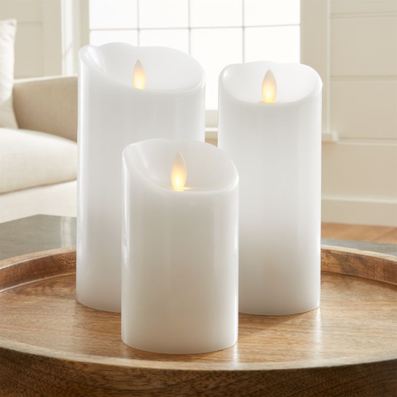 White Flameless Pillar Candles  Crate and Barrel