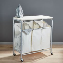 Foldable Lounge Chair Lift Walgreens Triple Laundry Sorter With Ironing Board | Crate And Barrel
