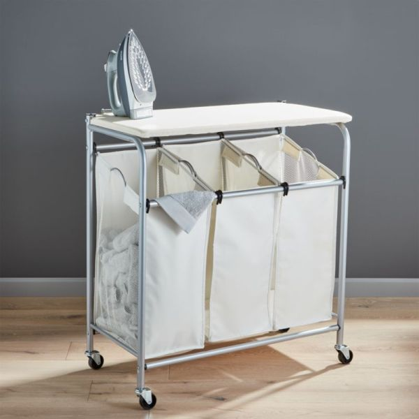 Triple Laundry Sorter With Ironing Board Crate And Barrel