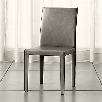 tan leather dining chairs melbourne burlap banquet chair covers crate and barrel folio stone grey top grain