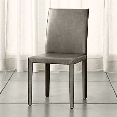 Grey Dining Chairs The Chair Fic Shop Kitchen Crate And Barrel Folio Stone Top Grain Leather