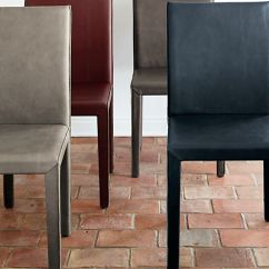 Dining Chair Covers India Rural King Folding Chairs Folio Oceana Blue Top-grain Leather Allure:   Crate And Barrel