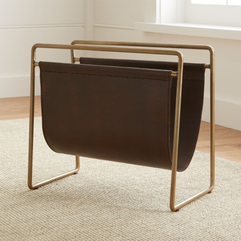 Galen Leather Magazine Rack Reviews Crate And Barrel