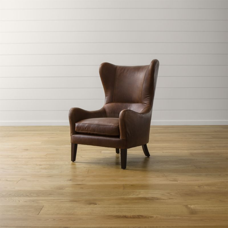 Garbo Leather Wingback Chair  Reviews  Crate and Barrel