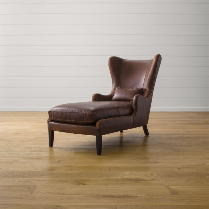 Garbo Leather Chaise Lounge  Reviews  Crate and Barrel