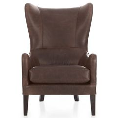 Traditional Leather Wingback Chair Folding Travel Garbo Reviews Crate And Barrel