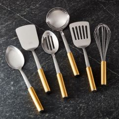 Kitchen Utensil Narrow Depth Cabinets Cooking Utensils And Tools Crate Barrel Gold Handled