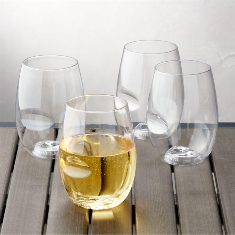 Govino Shatterproof Plastic Stemless Wine Glasses Set of