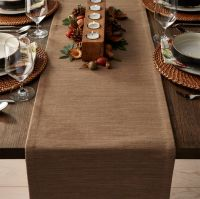 """Grasscloth 90"""" Brindle Brown Table Runner 