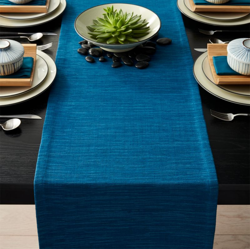 Grasscloth 90 Corsair Blue Table Runner Crate And Barrel