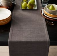 "Grasscloth 90"" Graphite Grey Table Runner + Reviews"