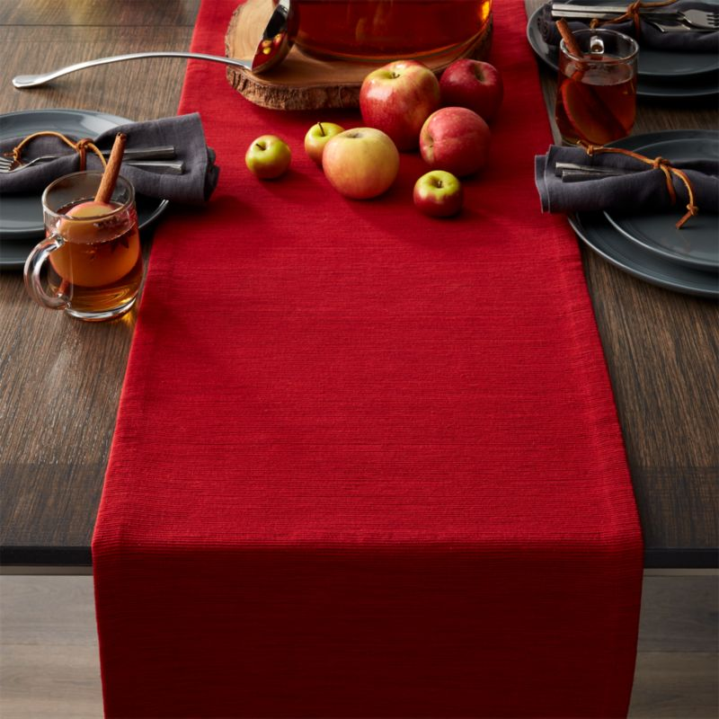 Grasscloth 90 Ruby Red Table Runner  Crate and Barrel