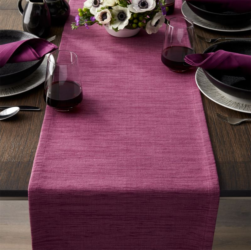 Grasscloth 90 Violet Purple Table Runner Crate And Barrel