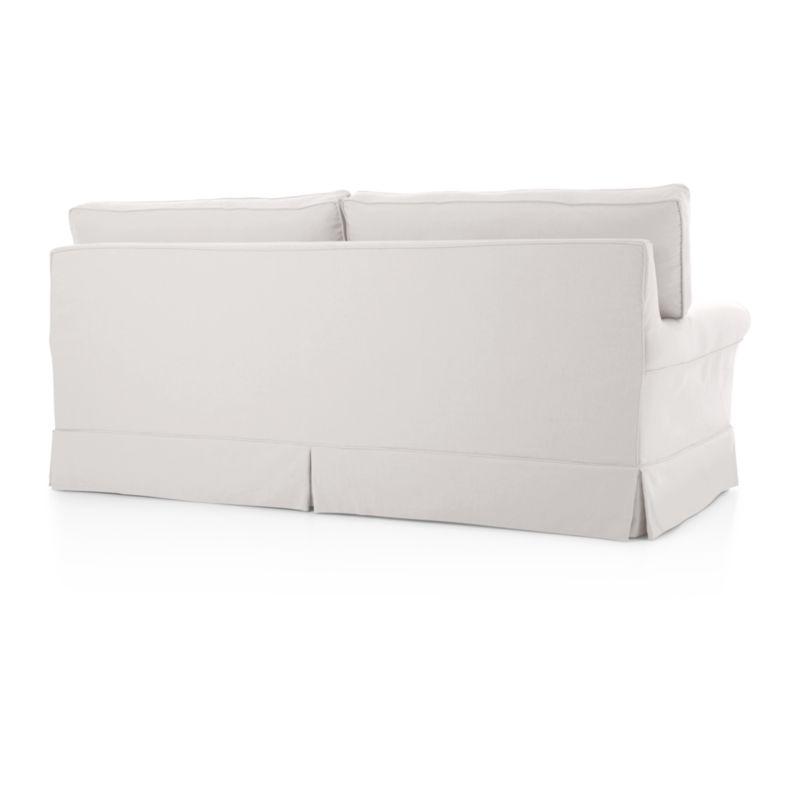 lee slipcovered sofa reviews baker table harborside full sleeper   crate and barrel