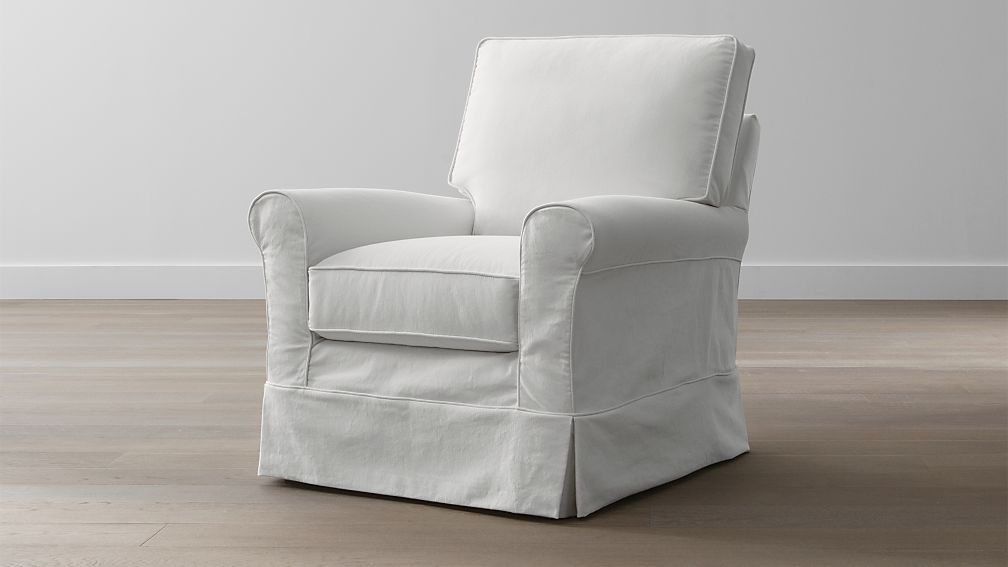 club chair slipcover formal dining room seat covers harborside slipcovered swivel glider | crate and barrel