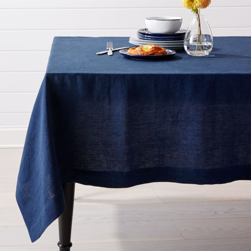 Helena Indigo Blue Linen Tablecloth  Crate and Barrel