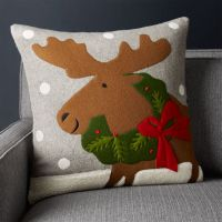 Holiday Moose Pillow 20""