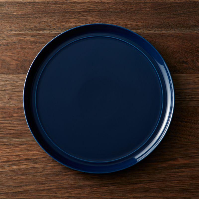 dark blue velvet accent chair big joe milano bean bag canada hue navy dinner plate + reviews | crate and barrel
