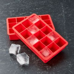 Kitchen Tools Store Carts And Islands Red Ice Cube Trays Set Of Two + Reviews | Crate Barrel