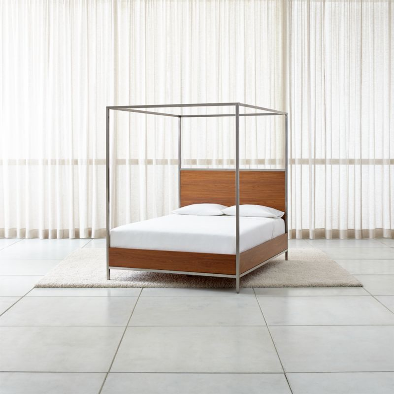 James Walnut with Stainless Steel Frame Canopy Bed  Crate