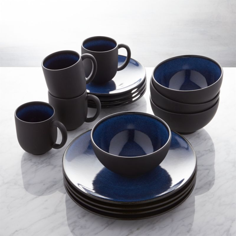 colored kitchen islands granite table jars tourron blue 16-piece dinnerware set + reviews ...