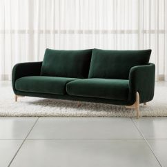 Fabric Material For Sofa Down Filled Sofas Toronto Jenny Green Velvet + Reviews | Crate And Barrel