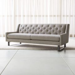 Grey Linen Tufted Sofa Ikea Living Room Bed Jourdan Back + Reviews | Crate And Barrel