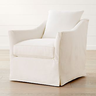 swivel club chair cheap desk living room chairs accent crate and barrel keely slipcovered