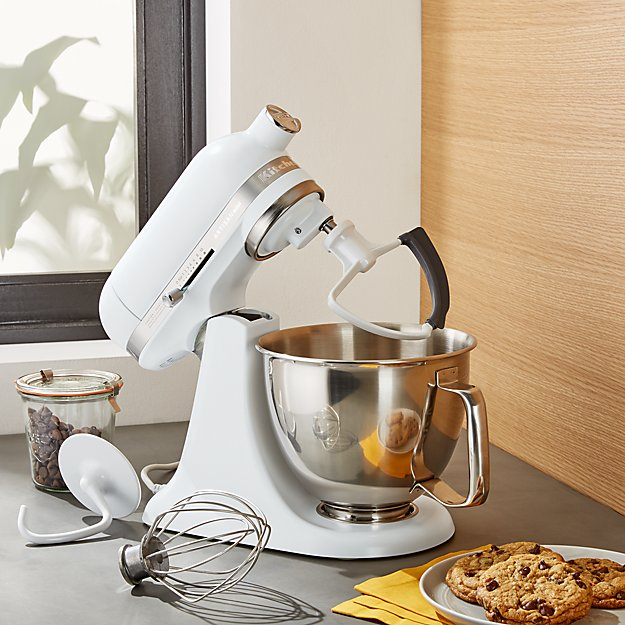 kitchen aid artisan commercial pull down faucet kitchenaid ® matte white mini mixer with flex edge ...