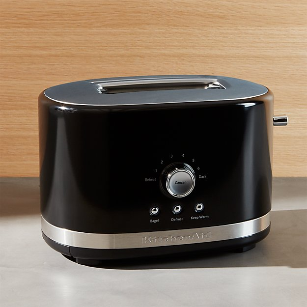 kitchen aid toasters gray rugs kitchenaid ® onyx black 2-slice toaster | crate and barrel