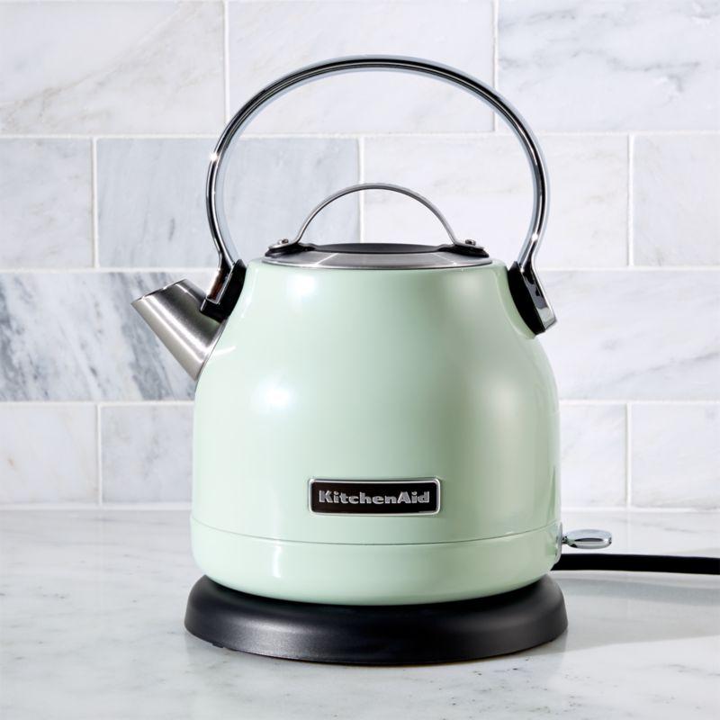 kitchen aid classic plus white tile kitchenaid pistachio electric kettle + reviews | crate and ...