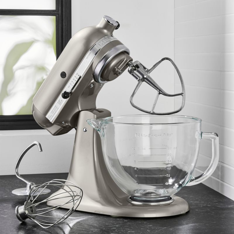 kitchen aid silver contemporary chairs kitchenaid artisan design series sugar pearl stand mixer reviews crate and barrel