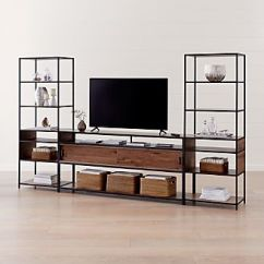 Living Room Media Center Design L Shaped Sofa In Small Tv Stands Consoles Cabinets Crate And Barrel Knox Black 76 Industrial Console With 2 Tall Open Bookcases