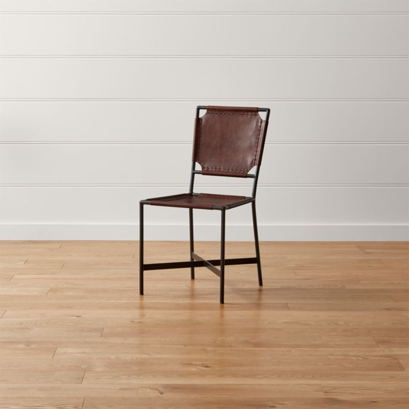 leather dining chairs adult baby high chair laredo brown reviews crate and barrel