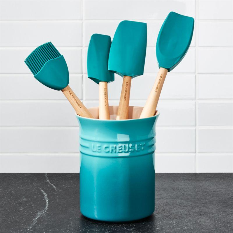 Le Creuset Caribbean Blue 5Piece Utensil Crock Set
