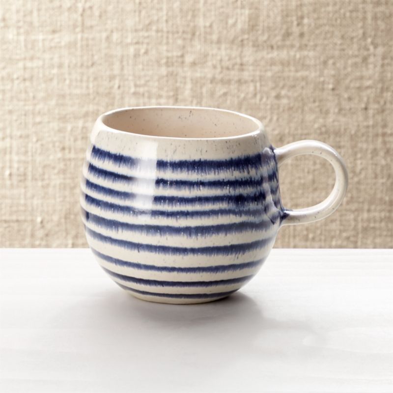 handmade kitchen islands cabinet hardware pulls lina blue stripe coffee mug + reviews | crate and barrel