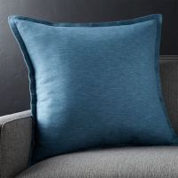 Linden Indigo Blue Throw Pillow | Crate and Barrel