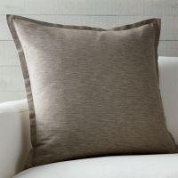 "Linden Mushroom Grey 23"" Pillow | Crate and Barrel"