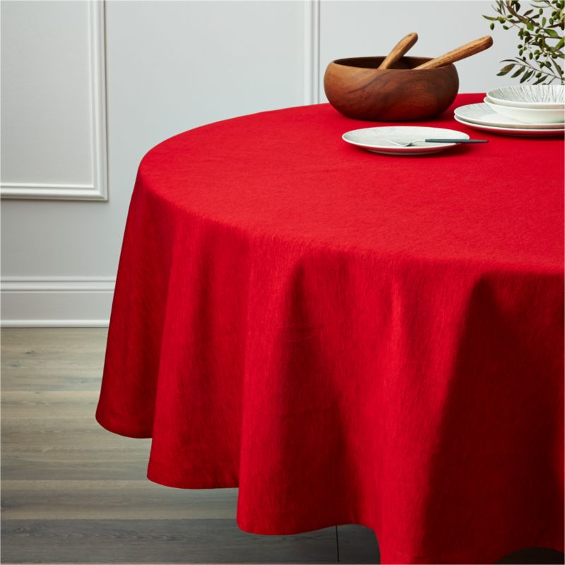 Linden Ruby Red 90 Round Tablecloth Reviews Crate And
