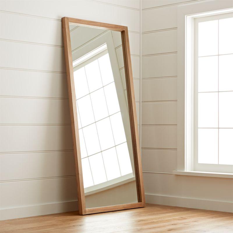 Linea Teak Floor Mirror  Reviews  Crate and Barrel