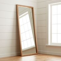 Linea Teak Floor Mirror + Reviews | Crate and Barrel