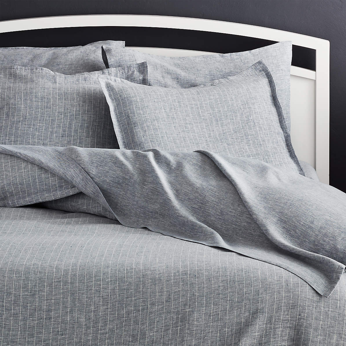 Pure Linen Pinstripe Blue Duvet Covers And Shams Crate And Barrel Canada