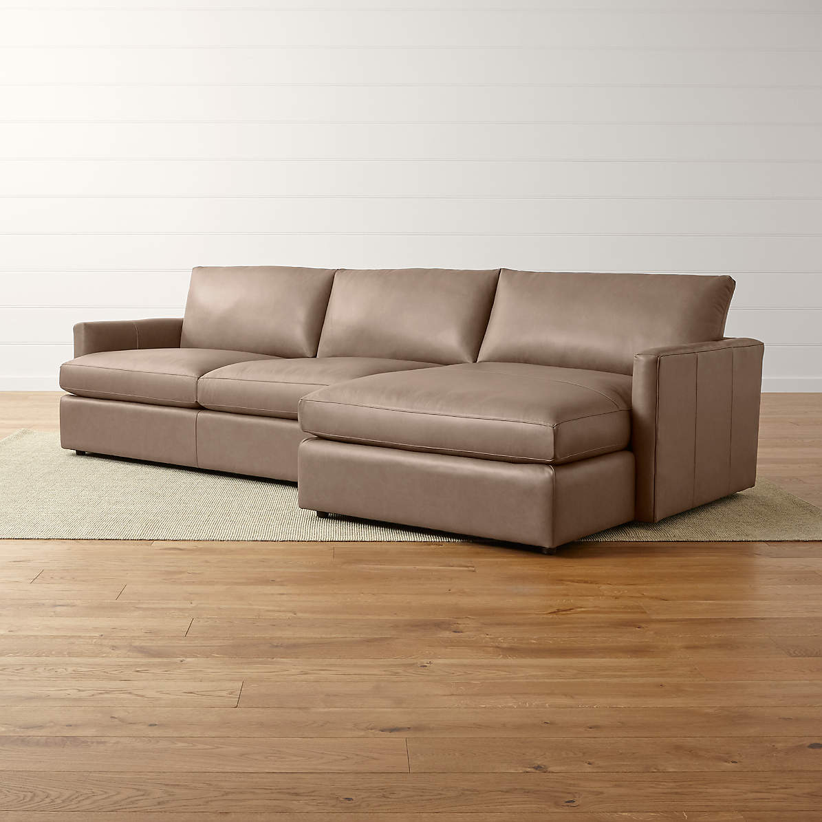 lounge ii petite leather 2 piece right arm chaise sectional sofa