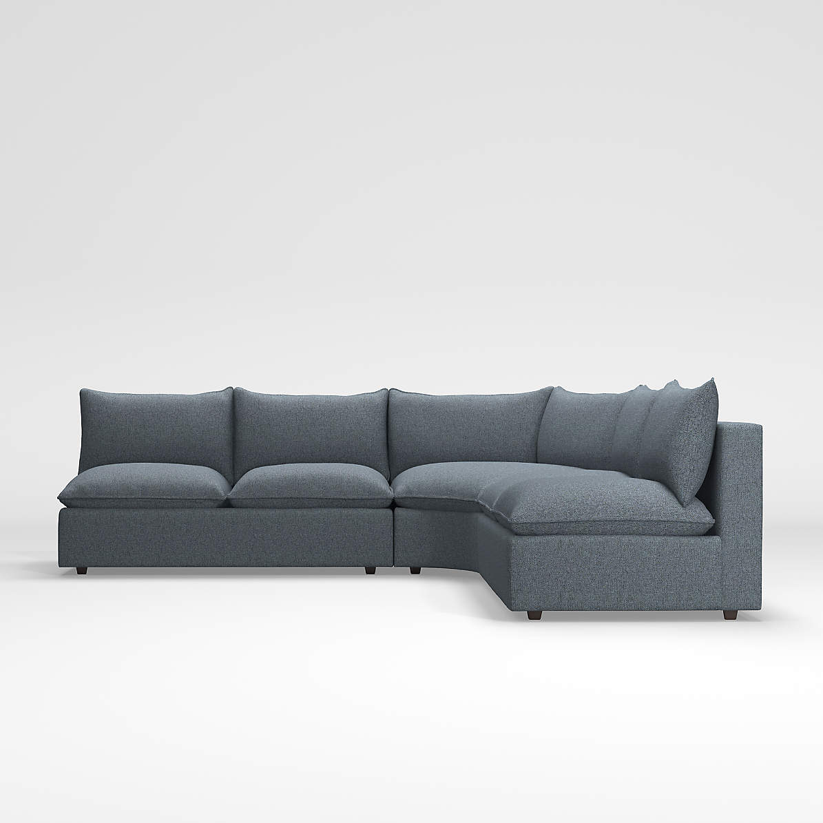 lotus petite 3 piece wedge sectional crate and barrel