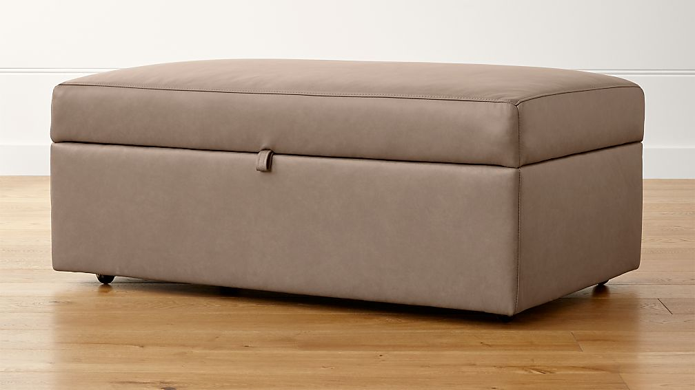 Lounge II Petite Leather Storage Ottoman with Tray