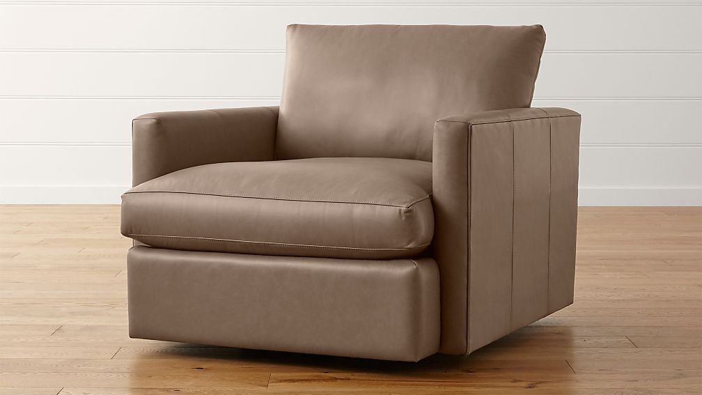 Lounge II Leather Swivel Chair  Crate and Barrel