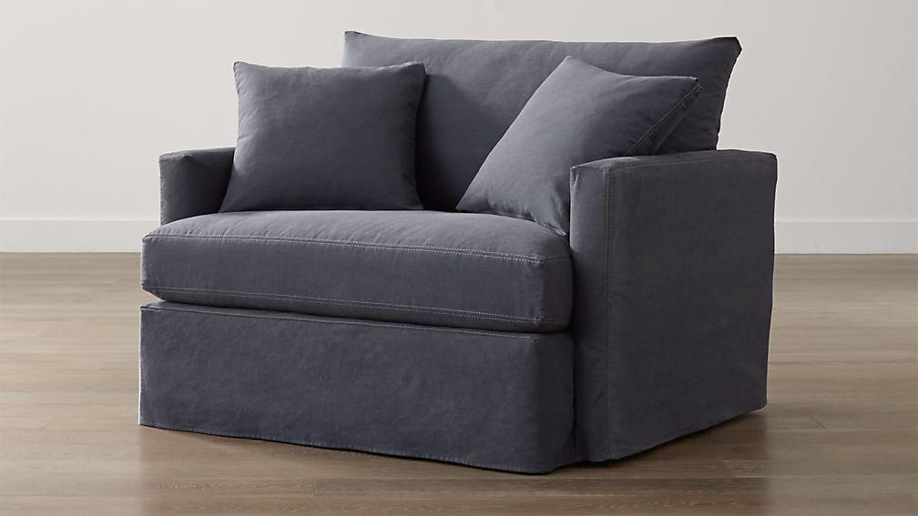 Lounge II Petite Slipcovered Chair and a Half Denim
