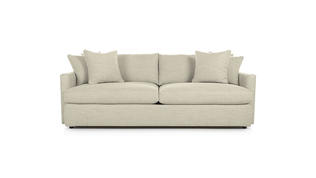cloud track arm leather two seat cushion sofa convertible sectional bed lounge ii 93 reviews crate and barrel