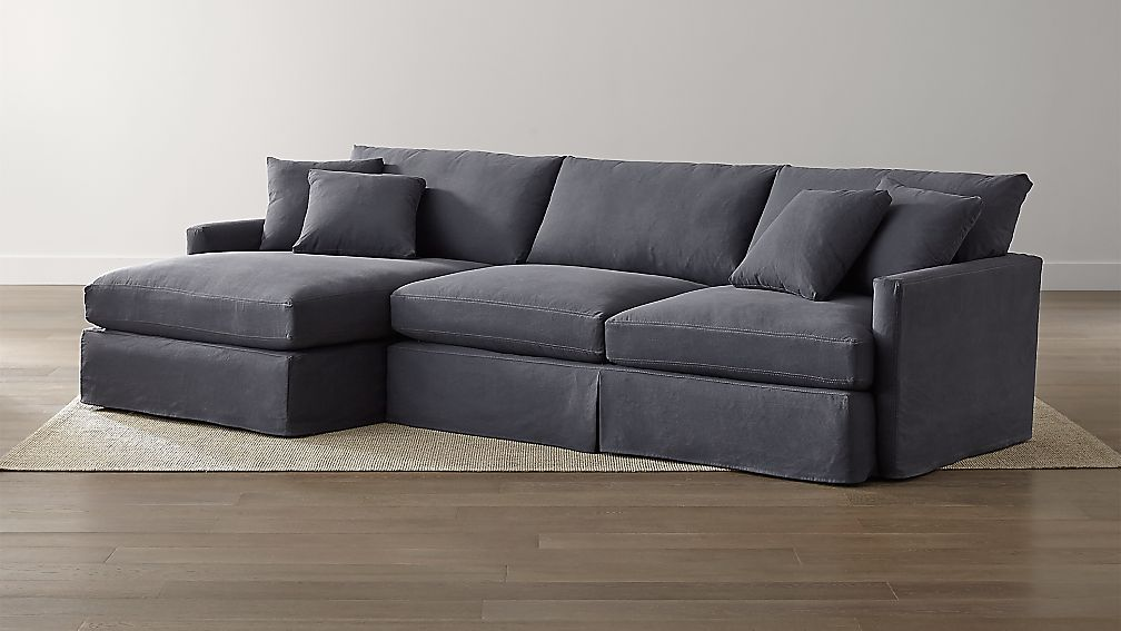 left chaise sofa sectional slipcover raymour and flanigan clearance sofas lounge ii slipcovered 2-piece denim ...
