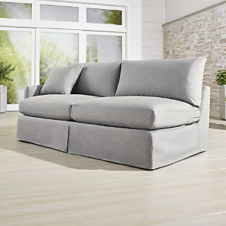 slipcovered living room chairs chair design poster crate and barrel slipcover only for lounge ii petite outdoor left arm sofa